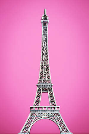 Eiffel model on pink background