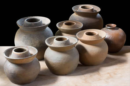 Clay pottery ceramics on black background Stock Photo - 15749421