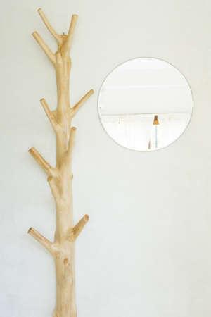 Wood coat rack with mirror