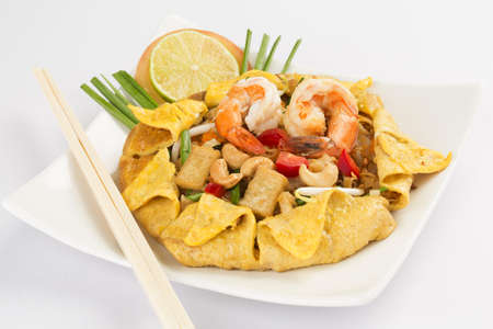 Thailand's national dishes, stir-fried rice noodles (Pad Thai) Stock Photo - 17235162