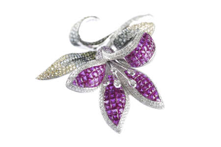 Butterfly brooch on white background