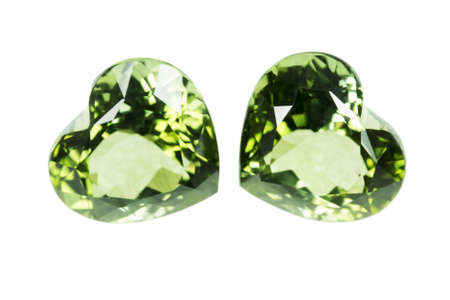 dazzlingly: Green sapphire  isolated on white Stock Photo