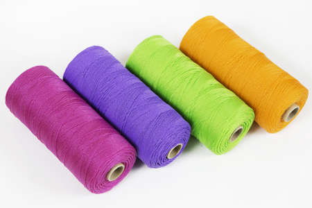 Rolls of colorful polyester rope - close up photo