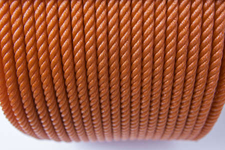 climbing cable: Close up view of red polyester ropes Stock Photo