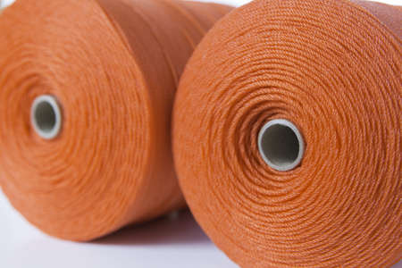 Close up of rolls of red polyester rope photo
