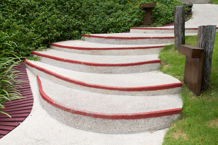Rock stairs in the garden photo