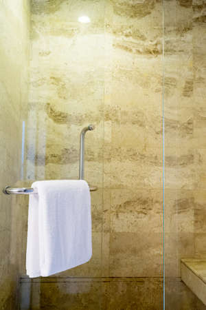 White spa towel hanging in the bathroom Stock Photo - 21983661