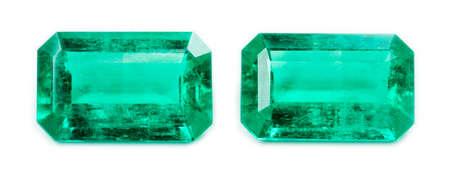 green gemstone: Emerald isolated on white background
