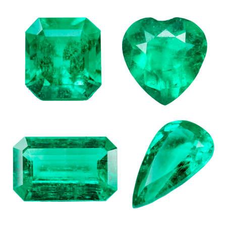 Emerald isolated on white background photo