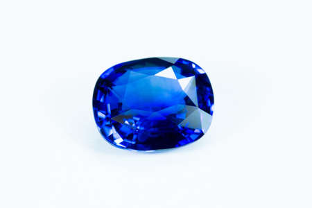 cz: Blue sapphire  isolated on white