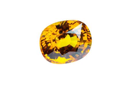 tsavorite: Yellow sapphire  isolated on white