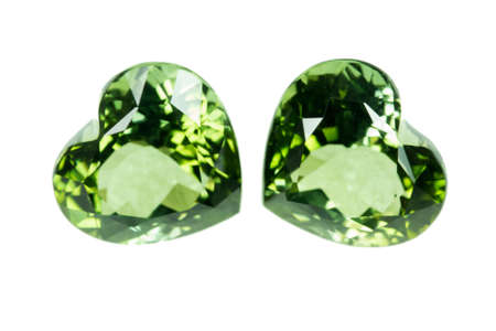 cz: Green sapphire  isolated on white Stock Photo