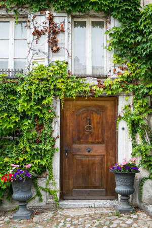Front Door of an Old Switzerland Cottage House Stock Photo - 22699645