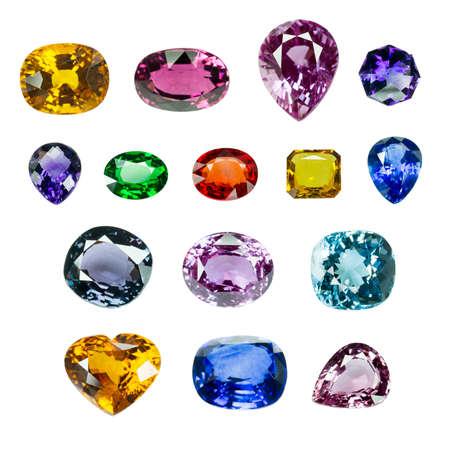 diamond cut: Bright gems isolated on white background