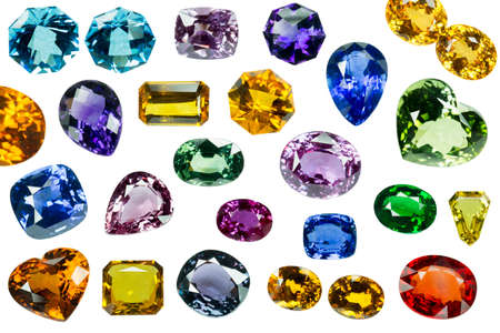 Bright gems on a white background photo