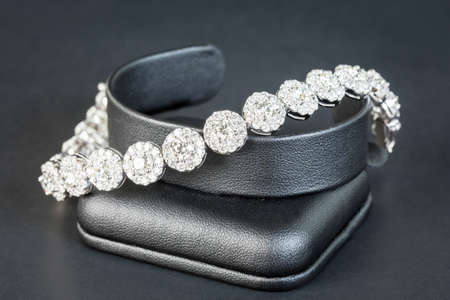 diamond ring: Diamonds bracelet in black background