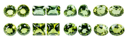 dazzlingly: Green sapphire isolated on white