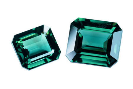 tsavorite: Green sapphire isolated on white