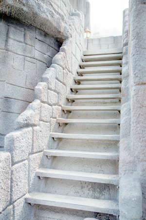 Grungy stone stairway photo