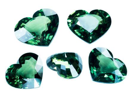 tsavorite: Green sapphire isolated on white