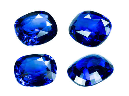 dazzlingly: Blue sapphire isolated on white