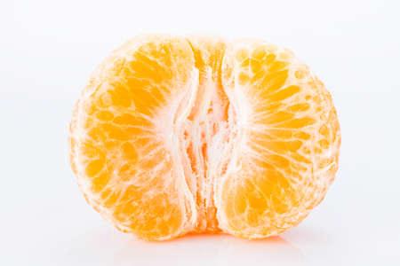 Half orange fruit on white background Stock Photo