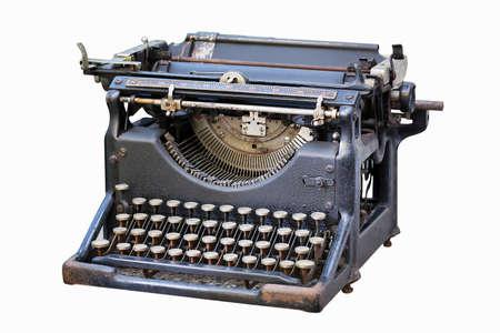 Old typewriter isolated on white photo