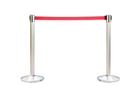 Stainless barricade with red rope isolate on white background photo