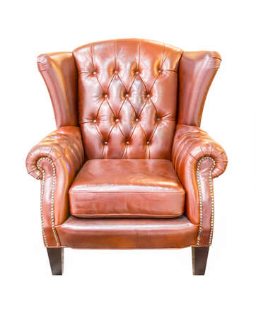 brown vintage armchair isolated on white background photo
