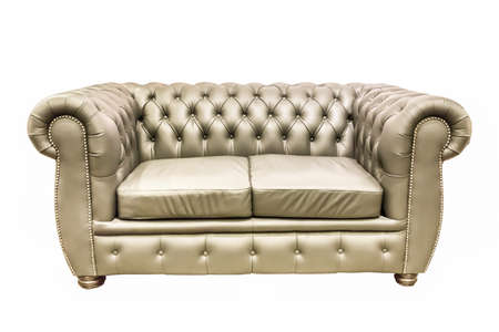 isolate double seat leather sofa on white background photo