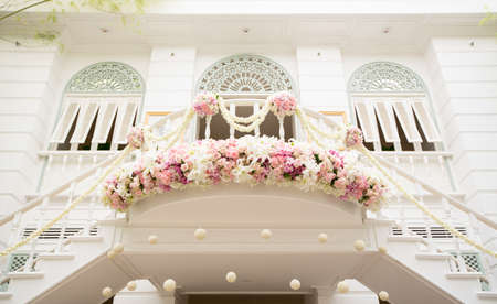Flower decoration in vintage and elegant wedding hall