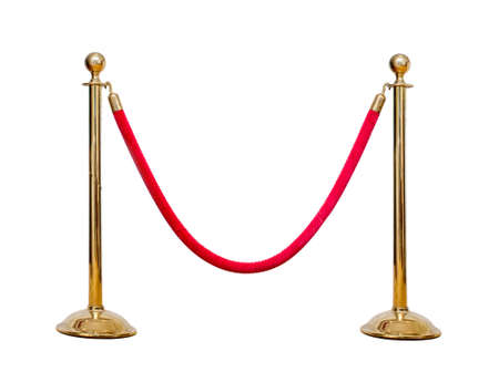 velvet rope barrier: hree poles golden barricade isolate on white background