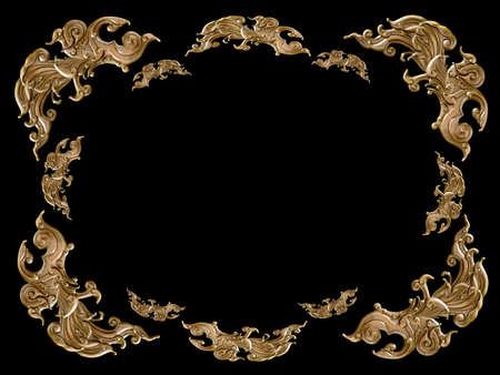 solated golden abstract wall decoration on Black background photo