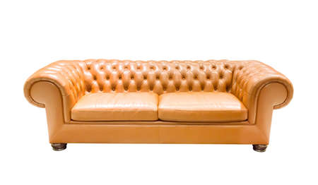 isolate vintage leather sofa on white background photo