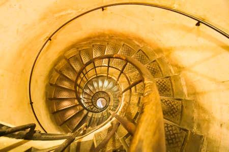 Upside view of a spiral staircase photo