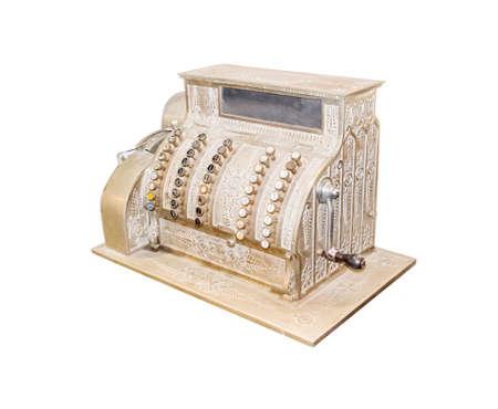 Super Ancienne Caisse Enregistreuse Isolé Sur Blanc Banque D'Images Et  JX93