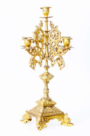 golden candlestick isolated photo
