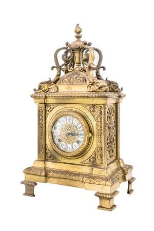 reloj antiguo: Reloj antiguo aislado en el fondo blanco.