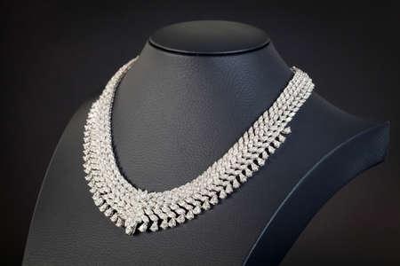 diamond necklace: diamonds necklace on the black background