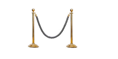 Stainless barricade with grey rope isolate on white background photo