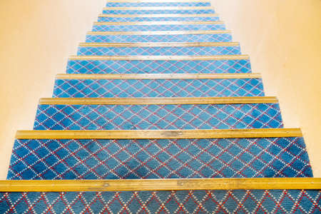 Stairs covered with carpet Stock Photo