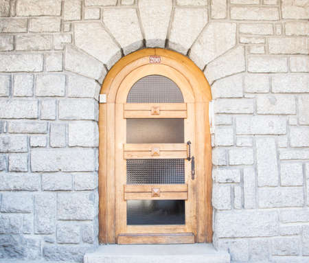 Wooden Front Door of a Luxurious Town House photo