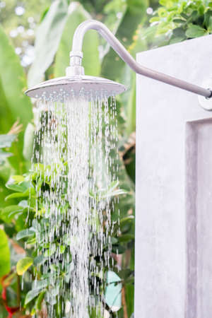 rain shower: water from rain shower outdoor
