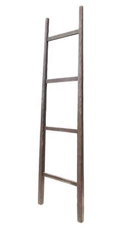 backstairs: Scaletta di legno, verticale scaletta isolato, primo piano dettagliato, in legno chiaro grezzo da vicino Archivio Fotografico