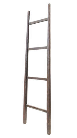 backstairs: Wooden ladder, vertical isolated stepladder, detailed closeup, light rough wood close up Stock Photo