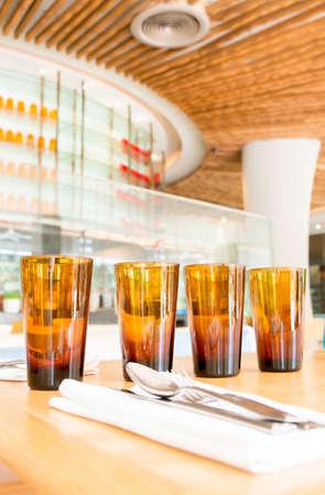 tumbler: Four empty glasses in the restaurant