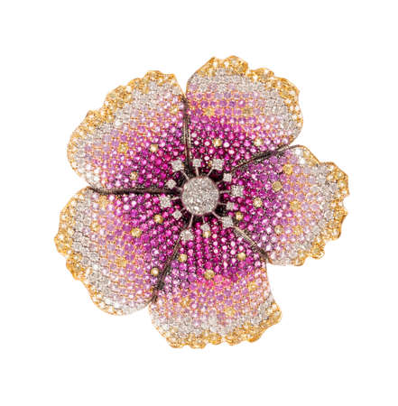 flower brooch on white background