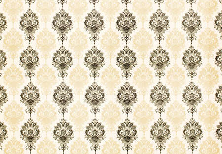 tan: cool retro floral wallpaper in tan and brown design Stock Photo