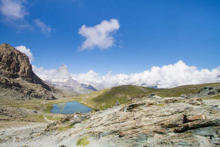 pyramid peak: Matterhorn in the swiss alps