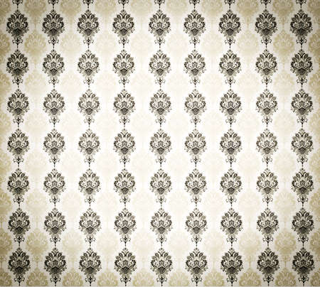 wallpaper wall: cool retro floral wallpaper in tan and brown design Stock Photo